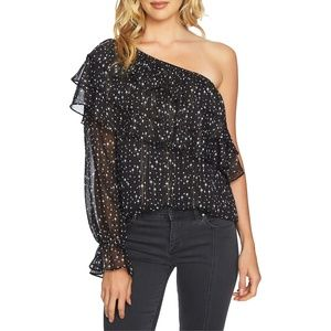 NWT 1.STATE Star Print One-Shoulder Tiered Blouse